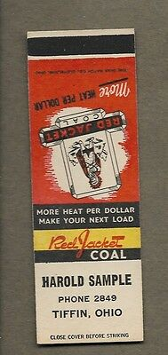 H Sample Red Jacket Coal Tiffin Ohio Flat Matchcover A415
