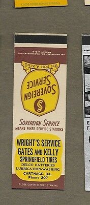 Wright`s Service Springfield Tires Carthage Illinois Flat Matchcover A414