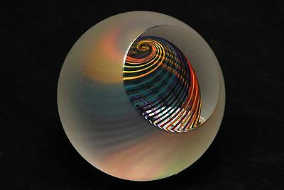 PAUL HARRIE Etched Harlequin Cut Edge Frosted Multi Color Paperweight
