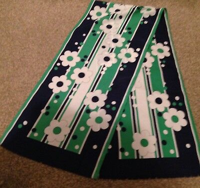 TRUE VINTAGE LONG DANDY SCARF MOD 1960s 1970s GREEN NAVY FLORAL RETRO FRINGED