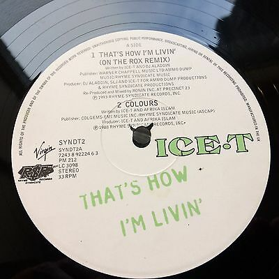 """Ice T - That's How I'm Livin' 12"""" vinyl single with poster VG"""