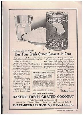 1916 Baker's Fresh Grated Coconut With The Milk In Cans Ad