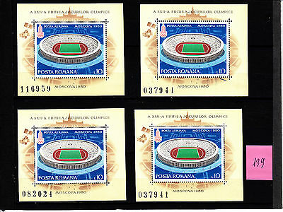 ROMANIA Old Stamps Roumanie Stade de Moscou n° 139 Y&T 4 blocs