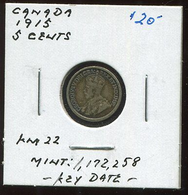 ** Canada 1915,  5 Cents  - Key Date **