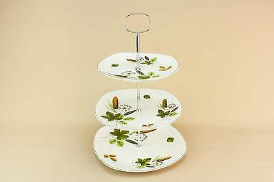 Vintage Mid-Century Modern Riverside CAKE STAND Unique Pottery English 1960s LS