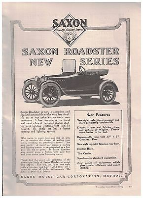 1916 Saxon Roadster New Series Ad From Saxon Motor Car Corporation of Detroit