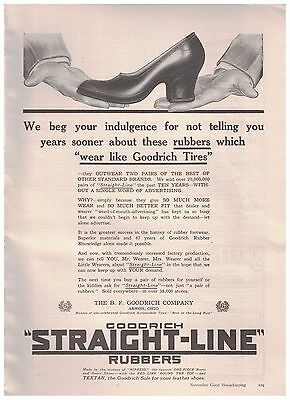 Rubbers Which Wear Like Goodrich Tires in 1916 Goodrich Straight Line Rubbers Ad
