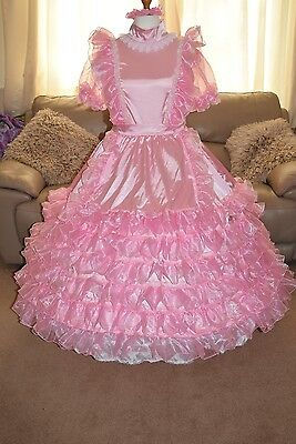 Gorgeous Long  Pink Satin Frilly Adult Sissy Maids dress size xxl