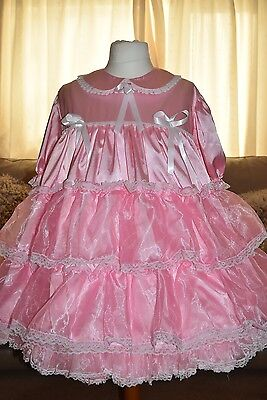 Gorgeous Pink Satin Frilly Adult Sissy Little Girls dress size xxl