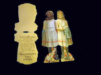 Victorian trade Card=PAPER DOLL-lot 2=Maiden-Basket-Doll=McLAUGHLINS COFFEE