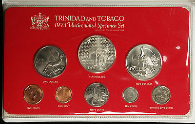 1973 Trinidad and Tobago 8 Coin Specimen Set w/ Sterling Silver $10 and $5 Coins