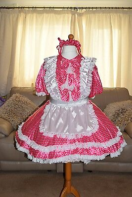 Gorgeous Pink Poker-dot Satin Adult Sissy Maids dress with white apron xxl