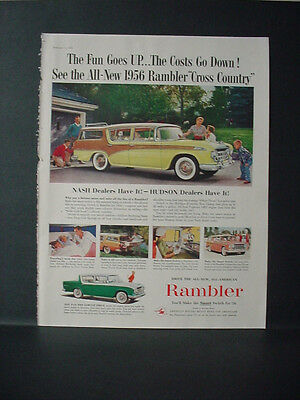1956 Rambler Cross Country Car Full Page Color Vintage Print Ad 10752