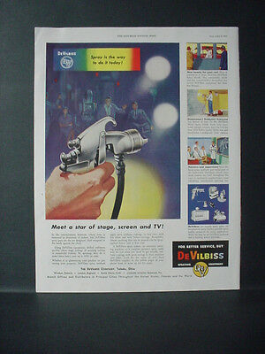 1953 DeVilbiss Paint Spraying Equipment Full Color Page Vintage Print Ad 10732