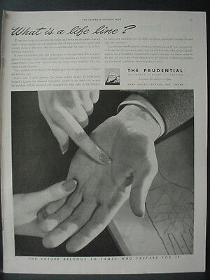 1944 Prudential Life Insurance Read Lines on Hand Vintage Print Ad 11948