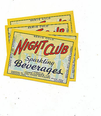 Misc 1061 Lot Of 4 Beverage Bottle   Labels  Night Club Chicago
