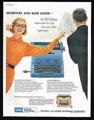1955 IBM Electric Typewriter 2 Colors Out Sells All Others Photo Print Ad