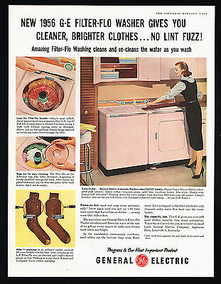 1956 General Electric GE Pink Washer Dryer Vintage Photo Print Ad