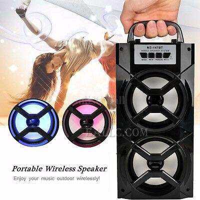 Rechargeable Portable Wireless Bluetooth Stereo Bass Speaker LED w FM/USB/TF/AUX