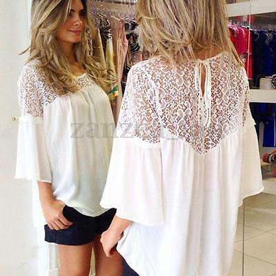 Womens Summer Lace Crochet Embroidery Floral Loose Tops Blouse Shirt White AU 16