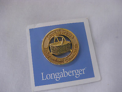 Neat Longaberger Basket Independent Consultant round Brooch Pin Unused EXC!