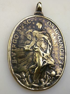 Antique Immaculate Conception St Michael Spanish Colonial Shipwreck BronzeMedal