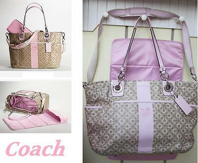 COACH Coated Chelsea Waverly Baby Diaper  Bag Purse satchel pad strap Tote 15561