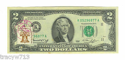 Crisp Uncirculated 1976 Two Dollar 13 Cent Stamp Post Mark Apr. 13 1976 Katy TX