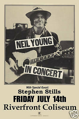 Classic Rock: Neil Young at  Riverfront Coliseum Concert Poster Circa 1978