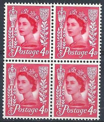 Jersey 1969 Sc# 5 Royal mace & arms 4p red Queen Elizabeth GB block 4 MNH