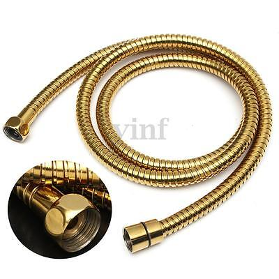 1.5m Gold Shower Hose Flexible Stainless Steel Bathroom Water Head Pipe Chrome