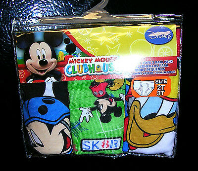 """L@@k   """"MICKEY MOUSE CLUBHOUSE"""" BOYS 3 PAIR PKG.  BRIEFS  SIZE 2T/3T   NWT #7B"""