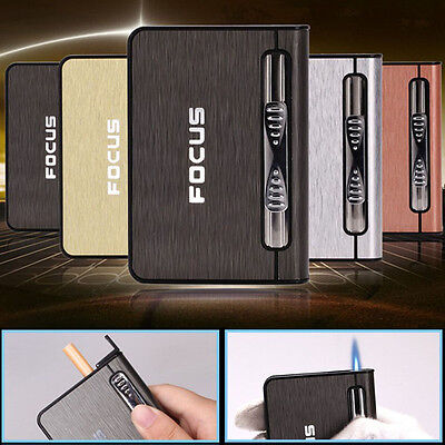 Cigarette Metal Case Lighter Automatic Ejection Butane Gas Windproof Box Holder