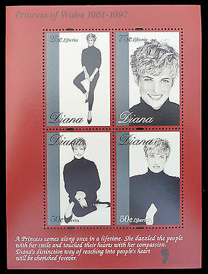 LIBERIA Wholesale Princess Diana Memoriam Miniature Sheets x 100 U/M CD 599
