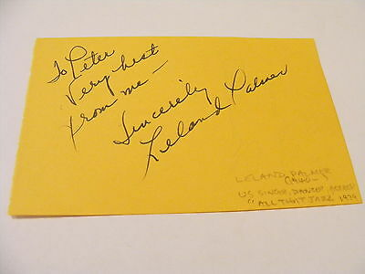 LELAND PALMER Signed Album Page Autograph American Actress Singer Dancer