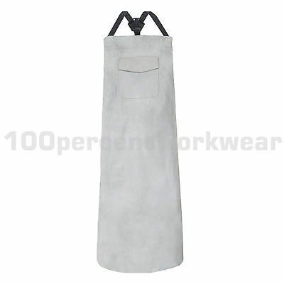 Supertouch Kevlar Stitched Premium Split Leather Grey Welding Apron with Pocket