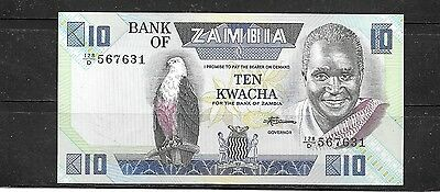 ZAMBIA #26e 1988 UNC MINT 10 KWACHA OLD BANKNOTE PAPER MONEY CURRENCY BILL NOTE