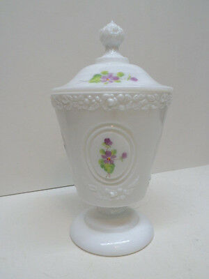 Fenton Signed Handpainted Pansies Candy Jar