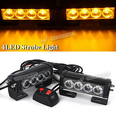 2pcs 4LED Flashing Light Warning Hazard Emergency Beacon Grille Strobe Yellow