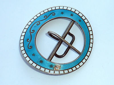 Large Antique Hallmarked Silver & Enamel Buckle L&s 1909 A/f