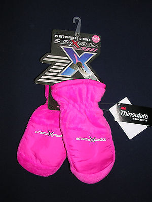 Zeroxposur Youth Performance Girl's Pink & Black Mittens Size S/m   Nwt