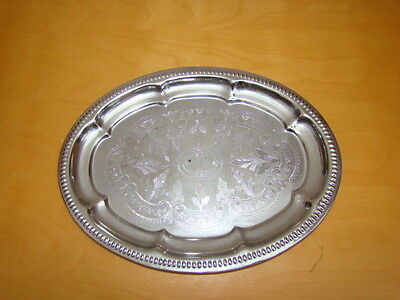 Small Silver Coloured Serving Platter Tray 26x19cms
