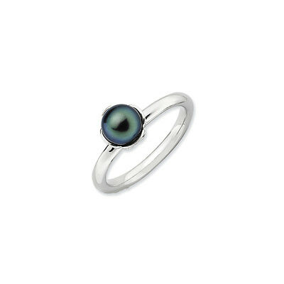 Silver Stackable Black Cultured Pearl Ring - Size 10