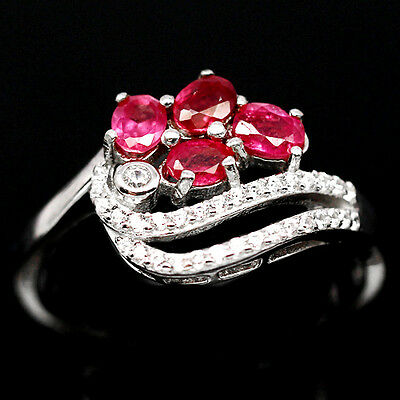 Bewitching! Natural! Pink Ruby & White Cz Sterling 925 Silver Ring Size8.25