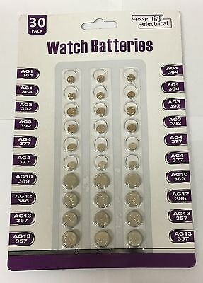New 30 Assorted Button Cell Watch Batteries Ag 1 / 3 / 4 / 10 / 12 / 13 Sealed