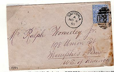British Post Offices In The Levant. Smyrna. 1881 Cover From Smyrna - Memphis Usa