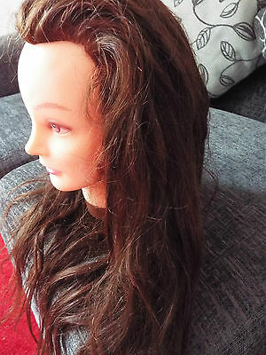 Hairdressing Training Practice Mannequin Head Real Long Human Burgundy Red Hair