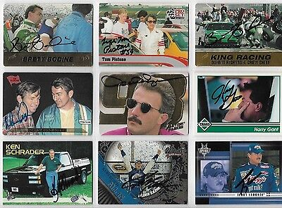 9 Different  Nascar Drivers  Autographed Signed Trading Cards