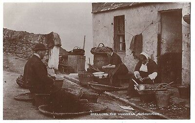 AUCHMITHIE Shelling the Mussels, RP postcard by JB White, Unused