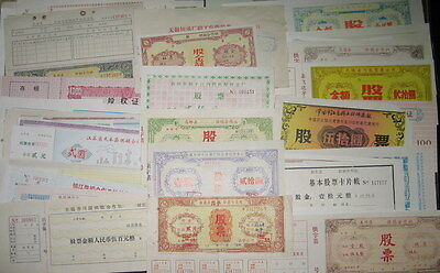 S3901, China 100 Different Pcs Local Stock Certificates (1950-1990)